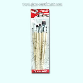 Set of  8 brown polyamide brushes