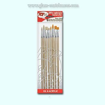 Set of  4 White bristle and 4 amber polyamide