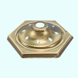 Lamp cap hexagon, brass, with rhombus holes, Ø 80 mm