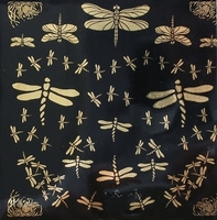 Gold decal Dragonflies